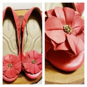 "Naturalizer | Peep Toe ""Posie"" Leather Shoes Coral"